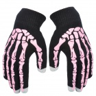 Skull Palm Pattern Yarn 3-Finger Touch Screen Gloves - Black + Pink (Pair)