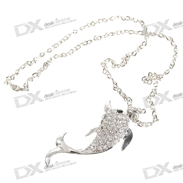 Glamorous Crystal Dolphin Platinum Plated Alloy Necklace (34cm)