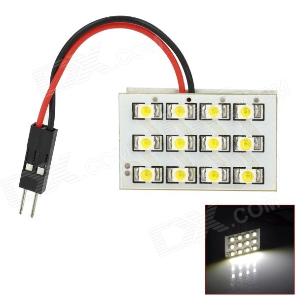 FD1210-12W 0.7W 75lm 6000K White Light 12-SMD 3528 LED lampe de voiture w / T10 / BA9S / feston adaptateur