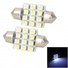 Festoon 36mm 0.72W 72lm 12-SMD 3528 LED White Light Car Reading / Tür Lamp (DC 12V / 2 PCS)