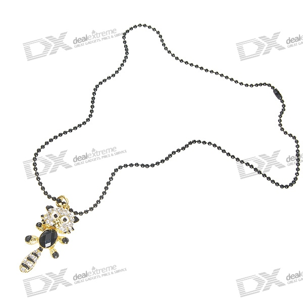 Glamorous Crystal Palm Civet Platinum Plated Alloy Necklace (34cm)