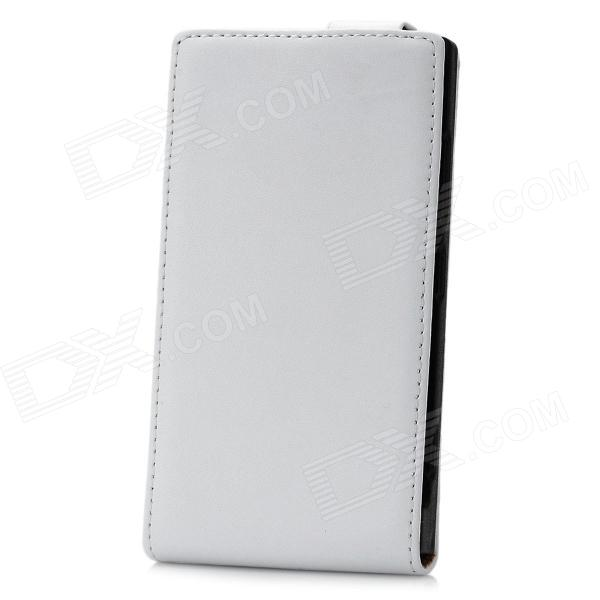 Protective Genuine Leather + PU Top-open Case for Nokia Lumia 920 - White