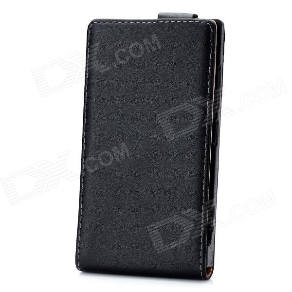 Genuine Leather Protective Flip-Open Case for Nokia Lumia 920 - Black protective pu leather case w belt clip for nokia lumia 920 black