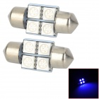 SJ50-31-4B Festoon 31mm 0.7W 90lm luz azul 4-SMD 5050 LED Car Lectura / cubierta de la lámpara (DC 12V / PCS 2)