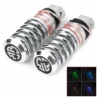 SENCART Spring Type Aluminum Pedals w/ 3-LED RGB Light for Off-Road / Bestride Motorcycle - Silver