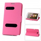 Alis Protective Open Window PU Leather Case for Samsung Galaxy Note II N7100 - Deep Pink