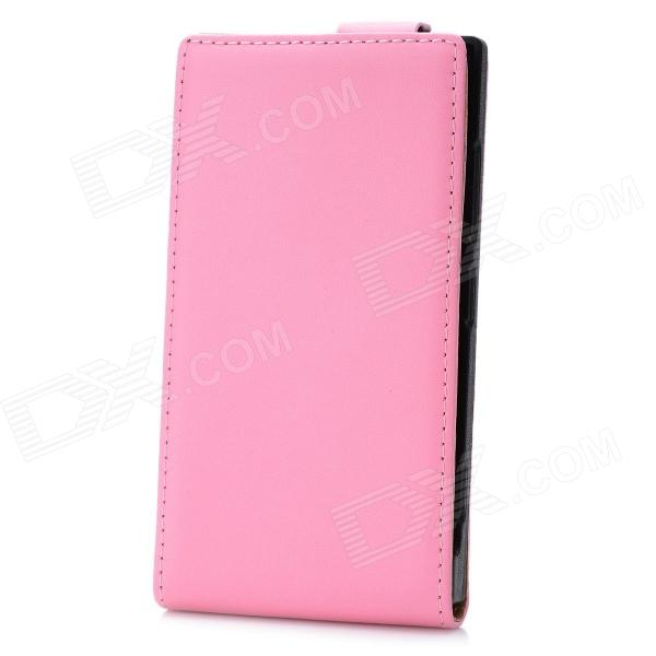 Genuine Leather Protective Flip-Open Case for Nokia Lumia 920 - Pink