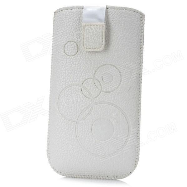 Circle Pattern Protective PU Case w/ Strap for Samsung i9300 / i9250 - White