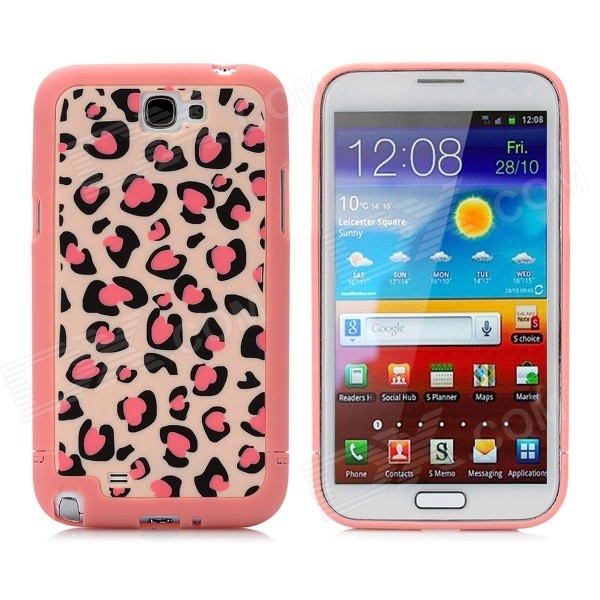 Leopard Style Protective Plastic Back Case for Samsung Galaxy Note II N7100 - Pink nillkin protective plastic back case w screen protector for samsung galaxy note 2 n7100 yellow