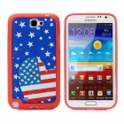 US National Flag Love Heart Style Protective Back Case for Samsung Galaxy Note II N7100 - Blue + Red