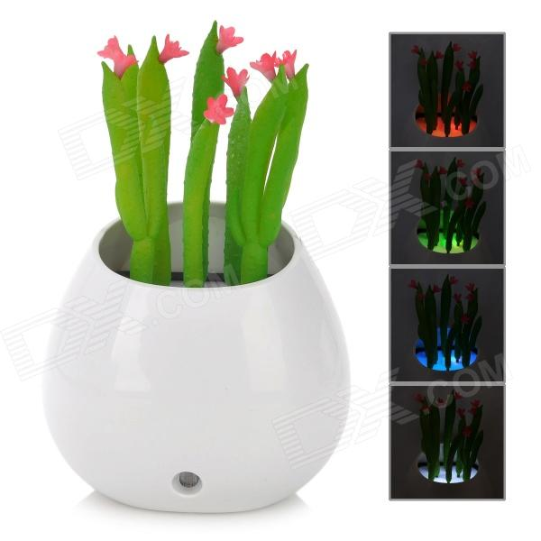 Creative Pot Culture of Cactus Style Intelligent 4-LED Wall Night Lamp - White + Green