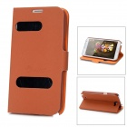 Alis Protective Open Window PU Leather Case for Samsung Galaxy Note II N7100 - Brown