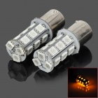 1156 BA15S P21W 3.5W 200lm 590nm 18-SMD 5050 LED Yellow Car Steering Lampen (2 PCS / 12V)