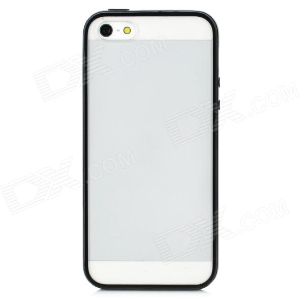 Protective Frosted Back Case for Iphone 5 - Black + Translucent White