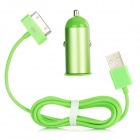 Car Charger Adapter + USB 30-Pin Data / Charging Cable Set for iPhone 4 / 4S / New iPad - Green