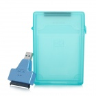 "S1301 USB 3.0 to SATA Adapter + 2.5"" Hard Disk Drive Enclosure + USB 3.0 Male to Female Cable - Blue"