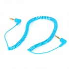 3.5mm Male to Male Right Angle Flexible Cable - Light Blue (150cm)