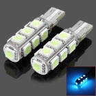 SENCART T10 1.25W 182lm 537~540nm 13-SMD 5050 LED Ice Blue Car Light - (DC 12V / 2 PCS)