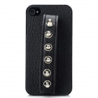 Cool Protective PC Hard Back Case w/ PU Leather Strap Affixed 6-Rivet for Iphone 4 / 4S - Black