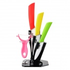 "TJC TJC-006 5-in-1 Zirconia Ceramic 4"" / 5"" 6"" Knife + Peeler w/ Base - Pink + Red + Green + More"