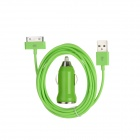 30 Pin Male to USB Male Data / Charging Cable + Car Charger for iPhone - Green