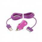 30 Pin Male to USB Male Data / Charging Cable + Car Charger for iPhone - Purple