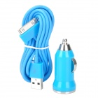 USB Car Charger + USB Apple 30pin Kabel - Blue