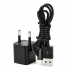EU Plug Power Adapter w/ USB 8 Pin Lightning Data Cable for iPhone 5 / iPad Mini - Black