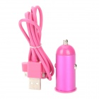 USB Car Charger + USB Apple 30pin Kabel für iPhone 4 / 4S - Purple Red