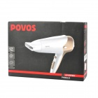 POVOS PH9022I 3-Mode Electric 2200W Hair Dryer - White + Golden (2-Flat-Pin Plug)