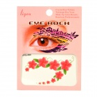 JYQ-084 Flower and Leaves Pattern Eye Shadow Stickers Set - Red + Green (Pair)