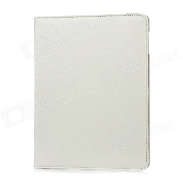360 Degrees Rotation Protective PU + ABS Case w/ Stand for Ipad 2 / 3 / 4 - White 360 degree rotating protective litchi pattern case w stand for google nexus 7 ii chocolate