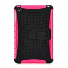 Protective Silicone + Plastic Back Cover Case w/ Stand for Ipad MINI - Deep Pink + Black