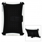 Protective Silicone + Plastic Back Cover Case w/ Stand for iPad Mini - White + Black