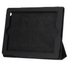 Protective Flip Open PU Leather Case w/ Stand Holder for Ipad 4 - Black