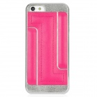 Newtons I5 Protective Plastic + PU Leather Back Cover Case - Deep Pink + Silver