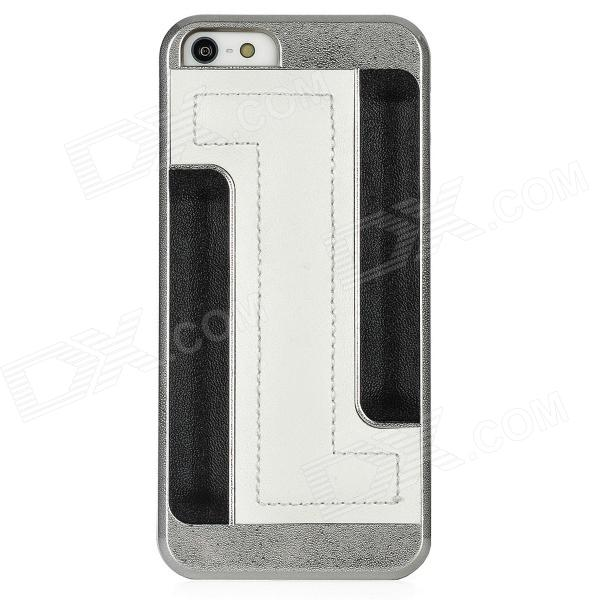 Newtons I5 Protective Plastic + PU Leather Back Cover Case - White + Black