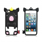 3D Crown Pig Style Protective Silicone Back Case for iPhone 5 - Black + Pink + White + Yellow