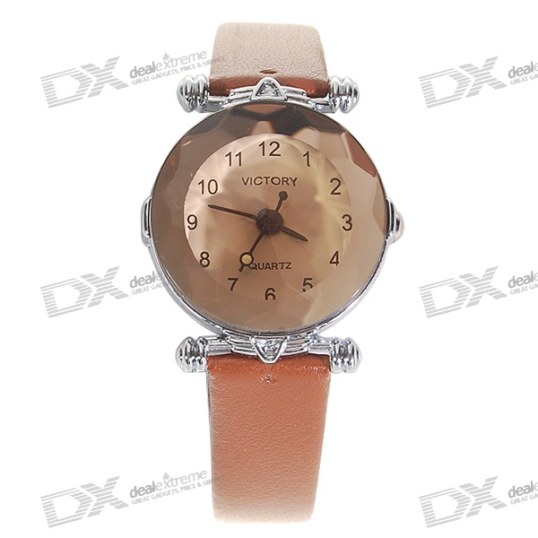 Pint-Size Stylish Leather Band Lady's Quartz Wrist Watch