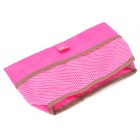 Reversible Nylon Cosmetic Clutch Bag - Pink + Brown