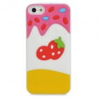 Strawberry Pattern Silicone Back Case for Iphone 5 - White + Yellow + Deep Pink