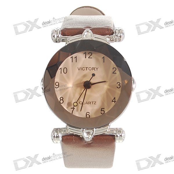 Stylish Leather Band Lady's Quartz Wrist Watch