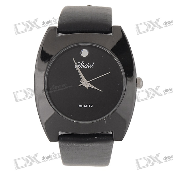 Simple Black Leather Band Crystal Wrist Watch