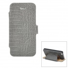 Crocodile Pattern PU Flip-Open Case w / Card Slots für iPhone 5 - Grey