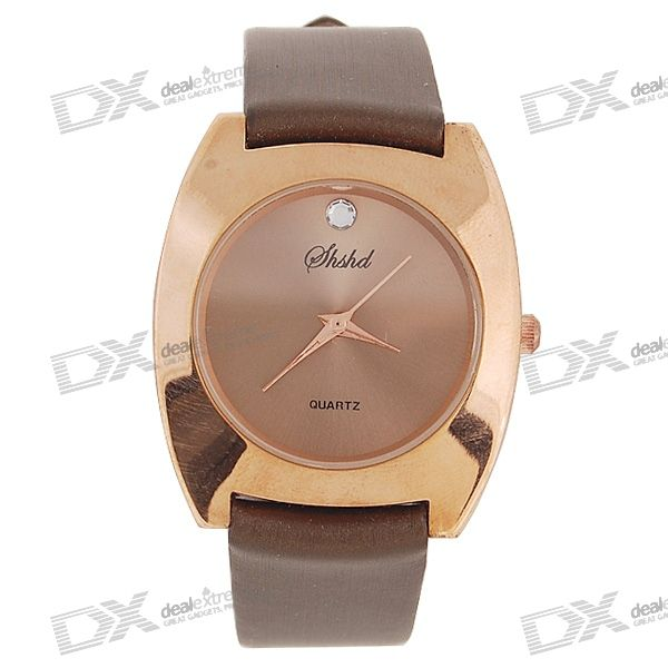 Simple Brown Leather Band Crystal Quartz Wrist Watch