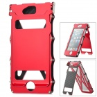 Armor Shape Protective Aluminum Alloy Flip-Open Case w/ Screen Film + Sticker for iPhone 5 - Red