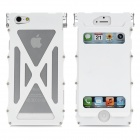 Protective Top Flip-Open Aluminum Alloy Case for iPhone 5 - White