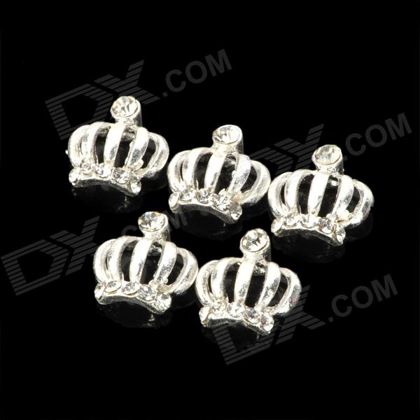 KX-319 DIY Alloy Rhinestones Crown Glitter Slices Nail Stickers - Silver (5 PCS) the silver crown