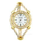 Beautiful Bracelet Style Lady's Crystal Quartz Wrist Watch - Golden