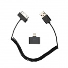 30 Pin Male to USB Male Curly Coil Cable + 8 Pin Lightning Male to 30 Pin Female Adapter - Black